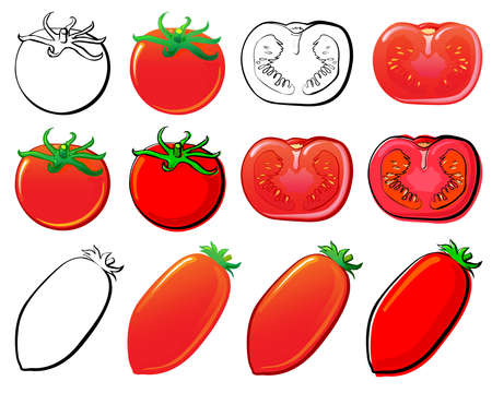 juicy: Tomato set. Each in separated layer.