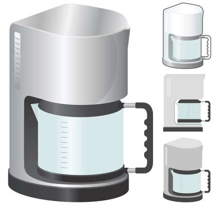 Coffeemaker, vector illustration in 4 variation. Vector