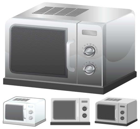 Microwave vector illustration in 4 variation. Vector