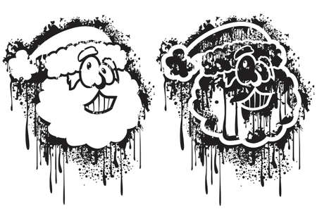 sprayed: Grunge spray Santa Illustration