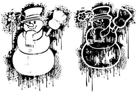 Grunge spray Snowman Stock Vector - 3848443