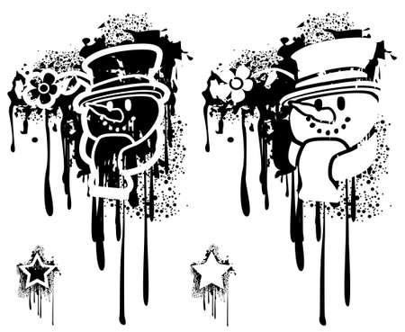 Grunge spray Snowman head Stock Vector - 3848444