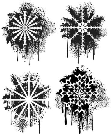 sprayed: Spray grunge snowflakes