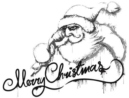 Santa sketch postcard Vector