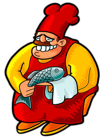 Chef with fish. Vector illustration without gradients and transparencies Stock Vector - 4298810