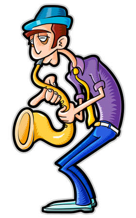 Saxophonist. Vector illustration without gradients and transparencies