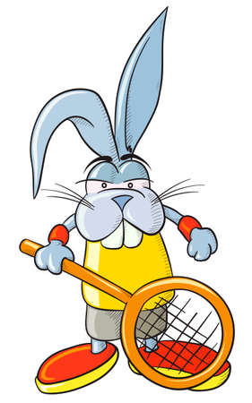 athlete cartoon: Tennis bunny. Vector, without gradients and transparencies