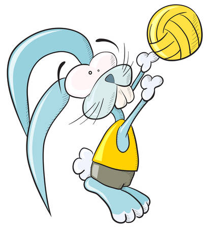 transparencies: Volleyball bunny. Vector, without gradients and transparencies