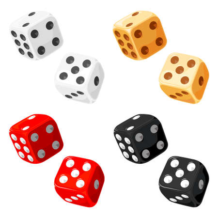 kostky: Dice. Vector without gradients and transparencies.