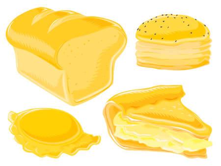pastel de manzana: Un conjunto de alimentos Vectores
