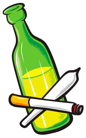 Alcohol, cigarettes and drugs. Stock Vector - 4884618