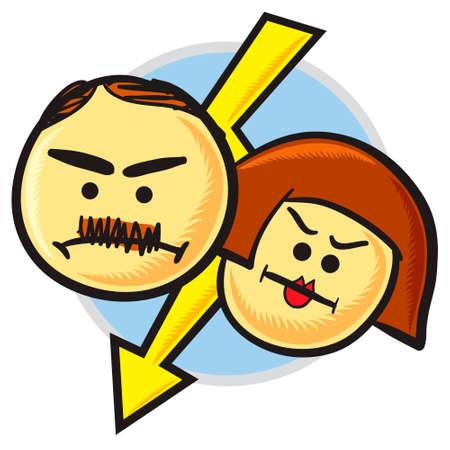 eltern und kind: Angry Eltern-Symbol. Ohne Steigungen und Folien.