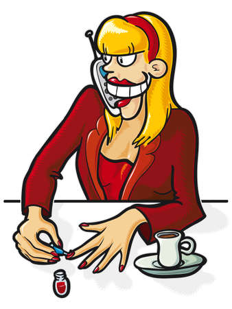 Funny illustration of business woman in action. Vector