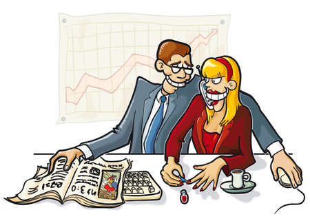 Funny illustration of business man and woman in action. Vector