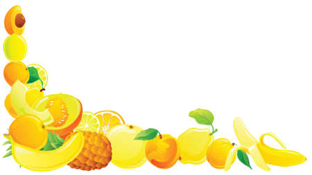 Yellow fruit corner. Vector illustration. Vector