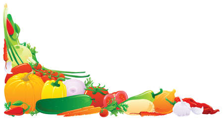 fresh taste: Colorful vegetali angolo. Vector illustration.