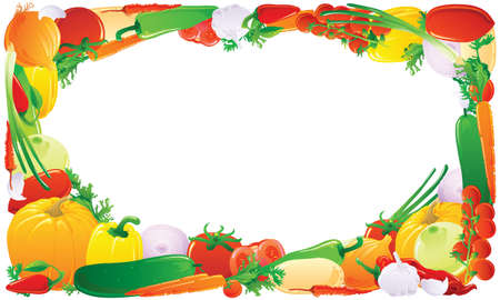 grocery: Colorful vegetable frame. Vector illustration.
