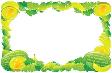Green fruit frame. Vector illustration. Vector