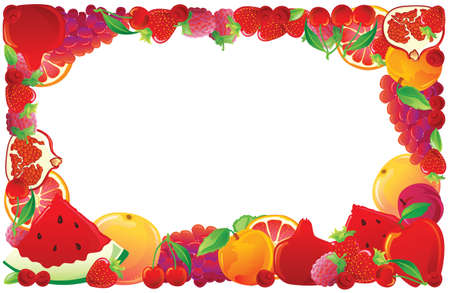 Red fruit frame. Vector illustration. Vector