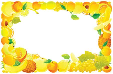 Yellow fruit frame. Vector illustration.
