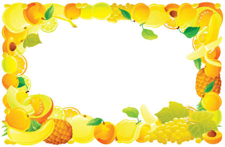 quince: Yellow fruit frame. Vector illustration.