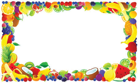fruit illustration: Colorful fruit frame. Vector illustration.