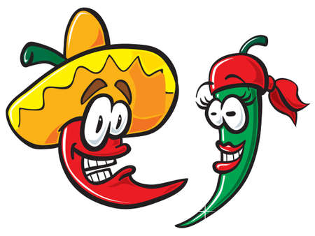 mexican cartoon: Mexican cartoon peppers. Vector illustration. Illustration