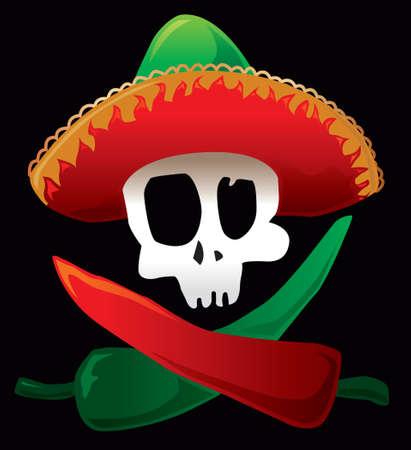 sombrero: Mexicaanse schedel en paprika. Vector illustratie.