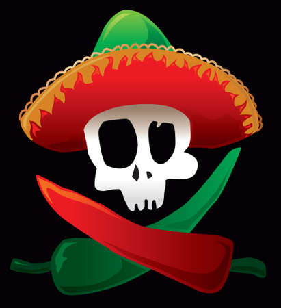 Mexican skull and peppers. Vector illustration.