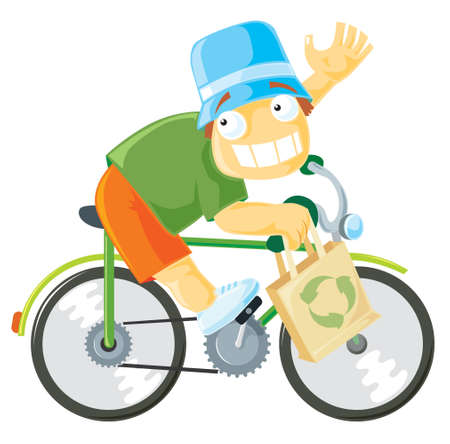 Boy riding a bike. Vector illustration. Vector