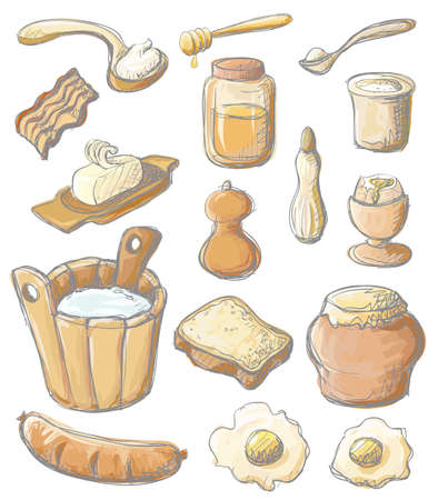 Breakfast color set Vector
