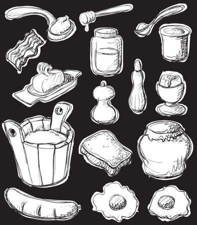 Sketch style (graphic negative) breakfast set. Vector