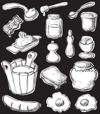 Sketch style (graphic negative) breakfast set. Vector