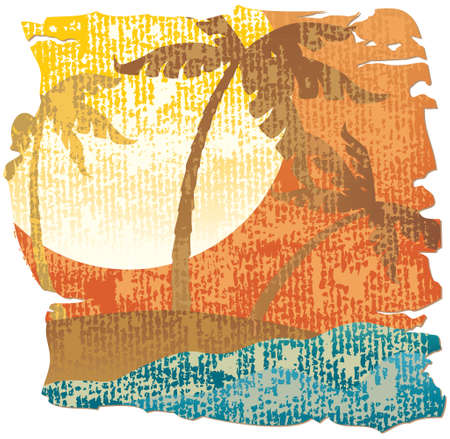 beach sunset: Tropical scene Illustration