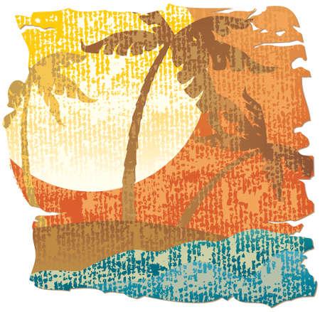 ocean sunset: Tropical scene Illustration