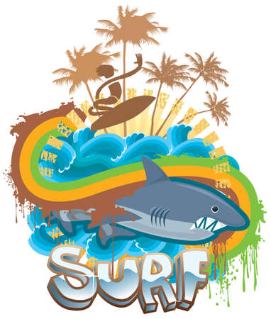 Surf with sharks Vector