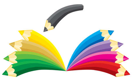 Book made of pencils. illustration without gradients. Vector
