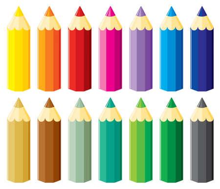 ni�os con l�pices: L�pices conjunto. ilustraci�n, sin gradientes.
