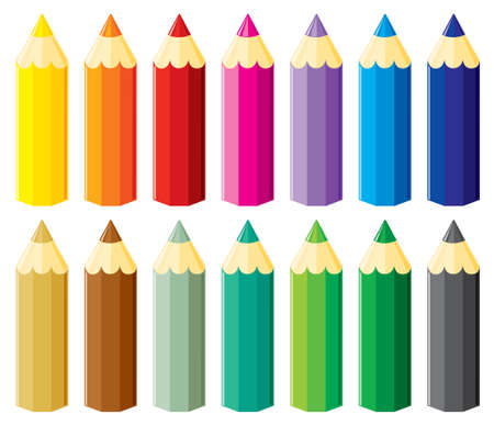 pastelky: Pencils set. illustration without gradients.