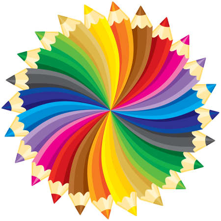 Crayons cercle. illustration sans dégradés.