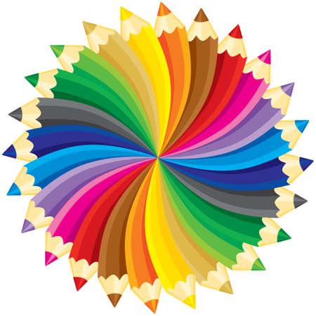 Lápices círculo. ilustración, sin gradientes.