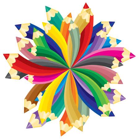 Lápices de Chaotic. ilustración, sin gradientes. Ilustración de vector