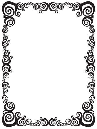 fancy border: Black and white swirl frame.