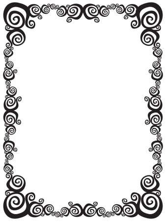 fancy border: Negro y el marco remolino blanco. Vectores