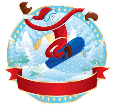 Snowboarder Santa Vector
