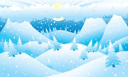 mountainous: Mountainous winter scene. Vector illustration.