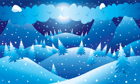 winter scene: Mountainous night winter scene. Vector illustration.