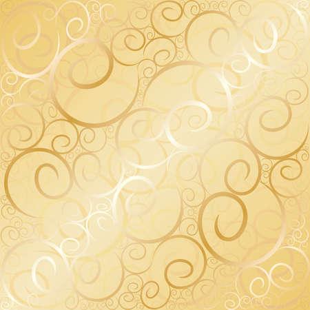 Old gold swirl wallpaper background. Vector illustration.