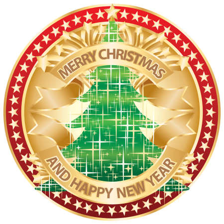Merry Christmas and Happy New Year gold Vector
