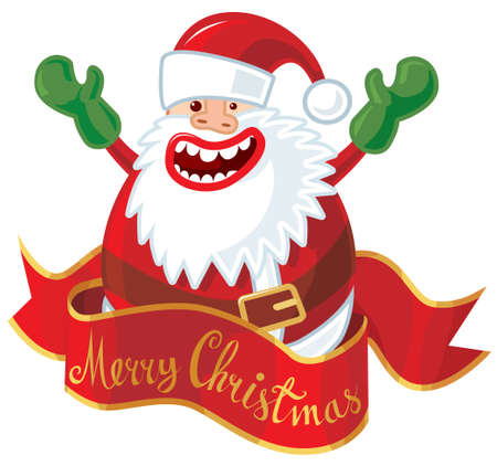 Santa with red banner.  Vector